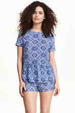 Flounced blouse - Dark blue - Ladies | H&M CN 1