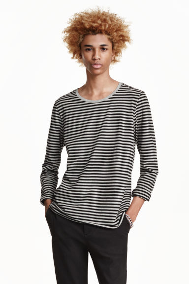 Long-sleeved T-shirt - Grey/Black striped - Men | H&M CN