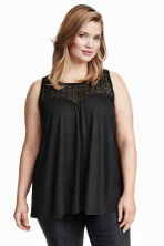 H&M+ Top with a lace yoke - Black - Ladies | H&M CN 1