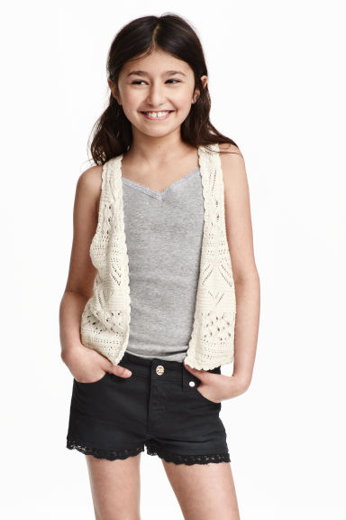 2-pack tops with lace - Grey marl - Kids | H&M CN 1