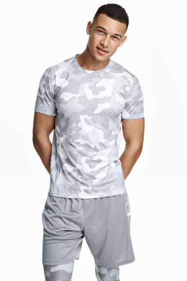 Short-sleeved sports top - Light grey/Patterned - Men | H&M CN 1