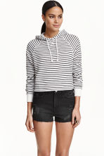 Cropped hooded top - White/Black striped - Ladies | H&M 3