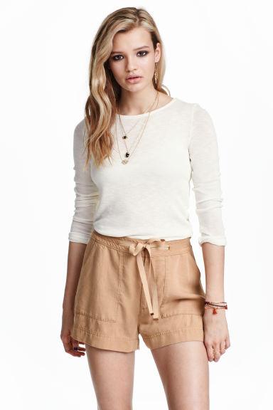 Lyocell shorts - Dark beige - Ladies | H&M GB