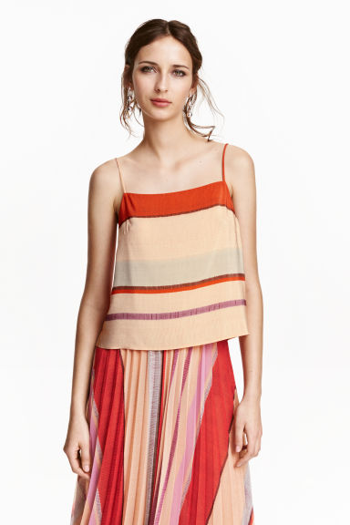 Patterned strappy top - Powder beige/Striped - Ladies | H&M CN 1