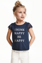 Jersey top with lace sleeves - Dark blue/Happy - Kids | H&M CN 1