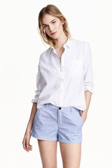 Short cotton shorts - Blue/Striped - Ladies   H&M GB
