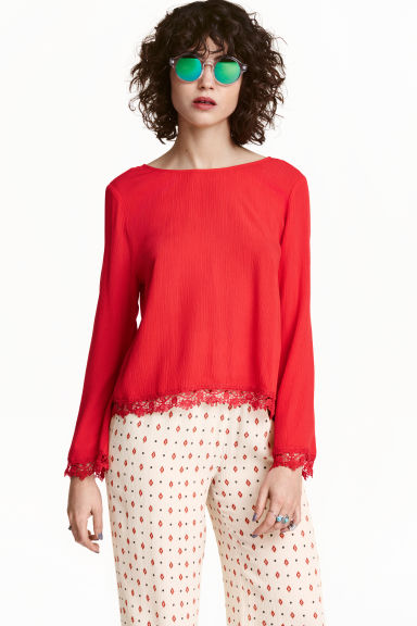 Blouse with lace trim - Red - Ladies | H&M GB 1