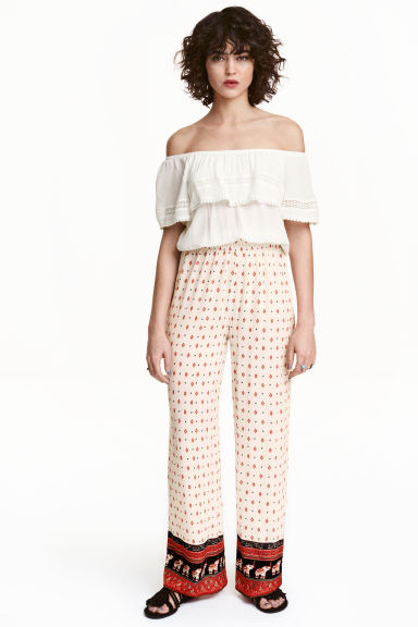 Pantaloni fantasia - Bianco naturale/Coachella - DONNA | H&M IT