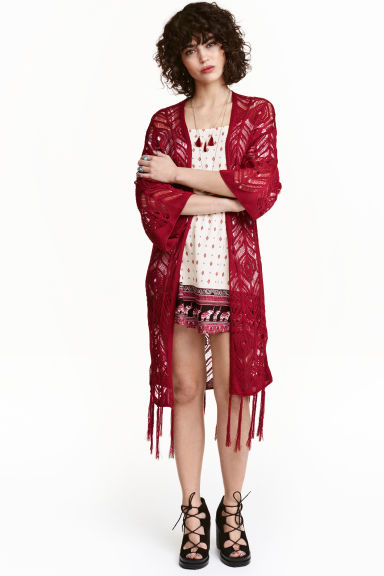 Fringed lace-knit cardigan - Dark red - Ladies | H&M CN 1