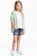 Fine-knit cardigan - Mint green marl - Kids | H&M CN 1