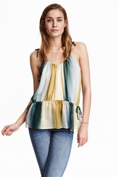 Top in chiffon - Bianco naturale/righe - DONNA | H&M IT 1