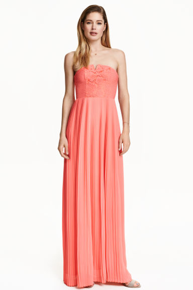 Pleated maxi dress - Coral - Ladies | H&M CN 1
