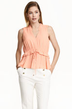 Crinkled blouse - Apricot - Ladies | H&M CN 1