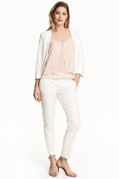 Textured trousers - White - Ladies | H&M GB 1