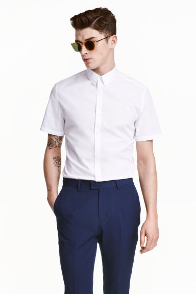 Short-sleeved Easy iron shirt - White - Men | H&M CN