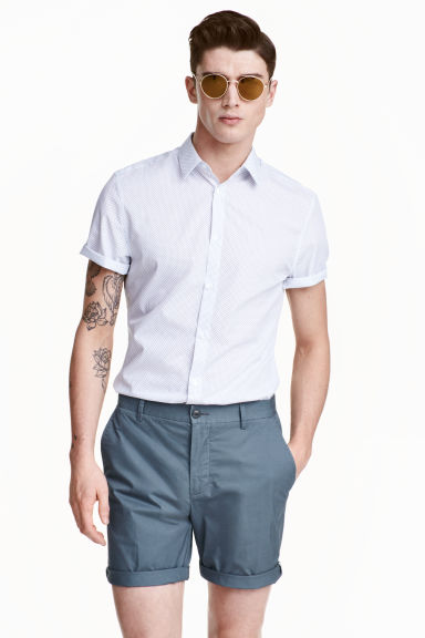 Short-sleeved Easy iron shirt - White/Spotted - Men | H&M CN 1