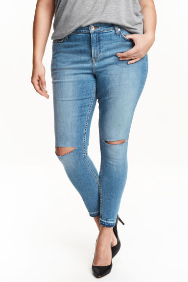 H&M+ Slim ankle ripped jeans - 牛仔蓝 - Ladies | H&M CN 1