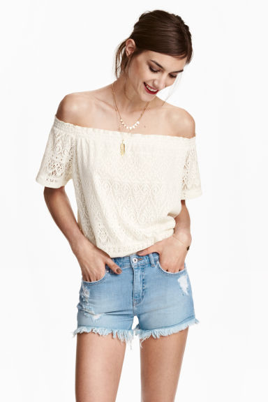 Off-the-shouldertop - Wit - DAMES | H&M BE 1