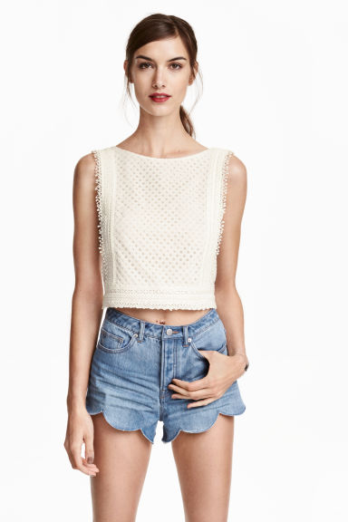 Lace crop top - Natural white - Ladies | H&M CN 1