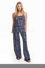 Jersey jumpsuit - Dark blue/Patterned - Ladies | H&M CN 1