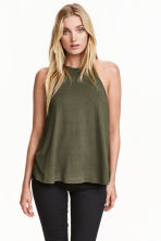 Sleeveless jersey top - Khaki green - Ladies | H&M GB 1