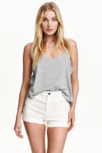 Short sleeveless top - Grey marl - Ladies | H&M 2