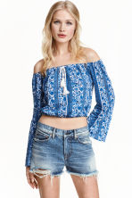 Patterned off-the-shoulder top - White/Blue/Floral - Ladies | H&M CN 1
