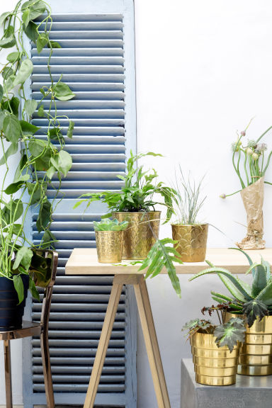 Metal plant pot - Gold - Home All | H&M GB