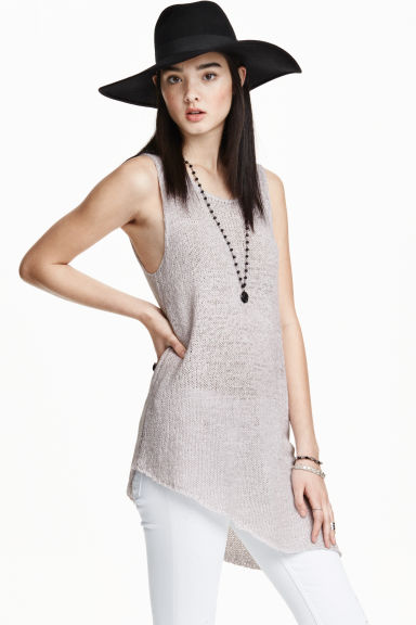 Knitted top - Light grey - Ladies | H&M CN 1