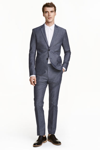 Oxford weave suit trousers - Dark blue - Men | H&M CN 1