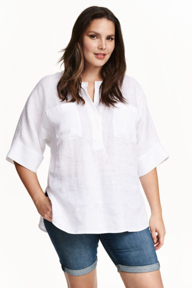 H&M+ Linen shirt - White - Ladies | H&M CN 1