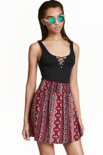 Patterned skirt - Dark red/Patterned - Ladies | H&M CN 1