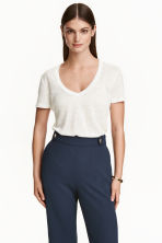 Linen jersey top - Natural white - Ladies | H&M CN 3