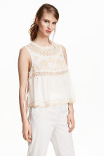 Embroidered blouse - White - Ladies | H&M CN 1