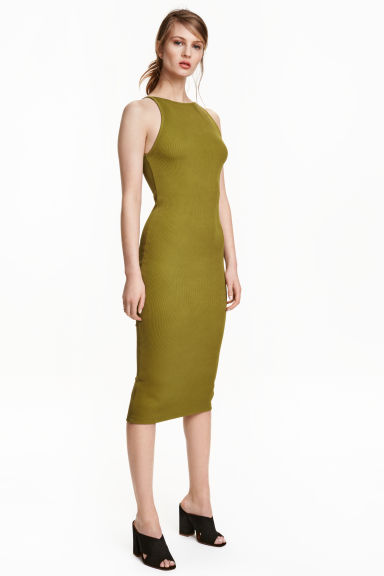 Ribbed jersey dress - Olive green - Ladies | H&M CN