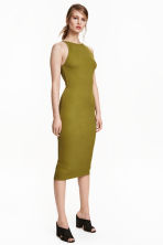 Ribbed jersey dress - Olive green - Ladies | H&M CN 1