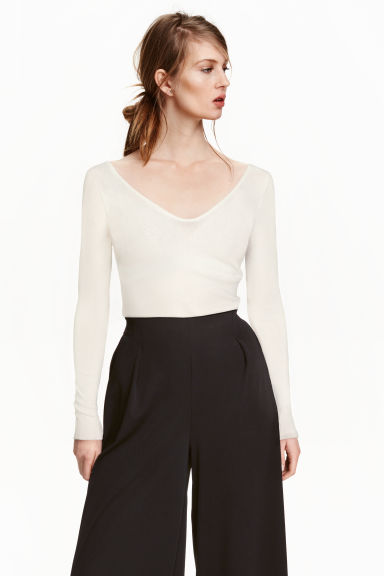Top con scollo a V - Bianco - DONNA | H&M IT 1