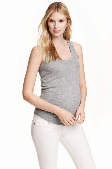 MAMA Ribbed top - Grey marl - Ladies | H&M CN 1