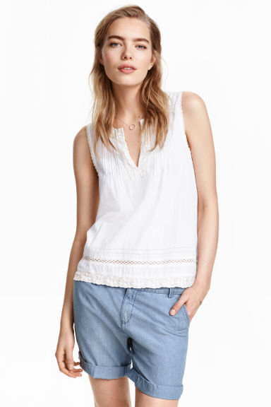 Shorts in cotone - Blu/chambray - DONNA | H&M IT