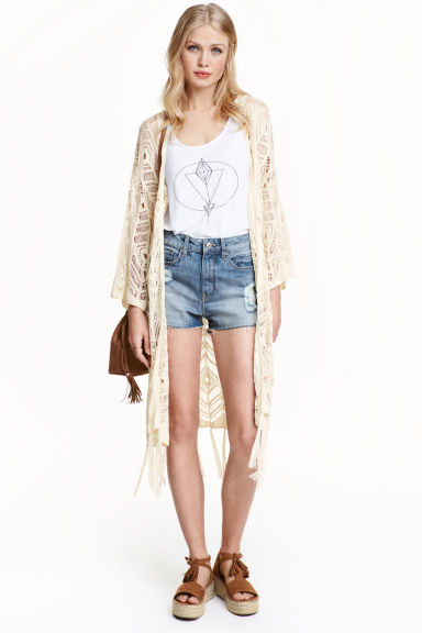 Lace-knit cardigan - Light beige - Ladies | H&M GB