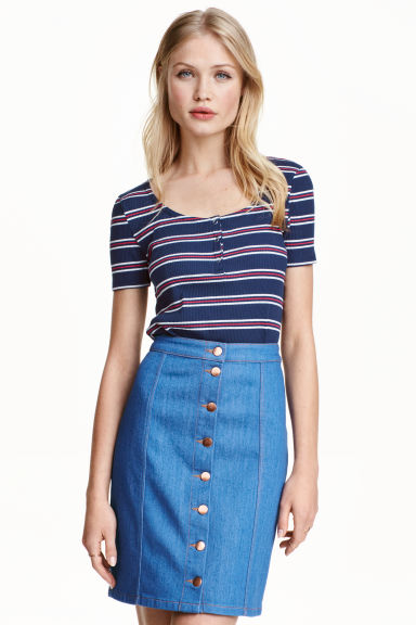 Crop top - Red/Dark blue/Striped - Ladies | H&M GB