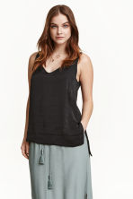 Sleeveless satin top - Black - Ladies | H&M CN 1