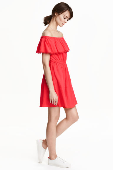 Cotton off-the-shoulder dress - Coral red - Ladies | H&M GB 1