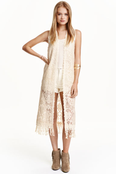 Long lace gilet - Natural white - Ladies | H&M CN 1