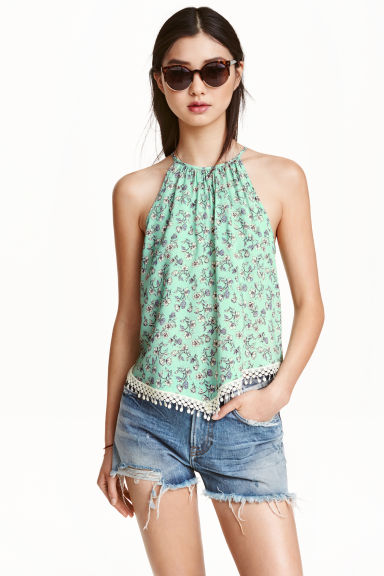 Patterned top - Green/Floral - Ladies | H&M CN 1