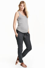 MAMA Linen-blend trousers - Dark grey -  | H&M 2