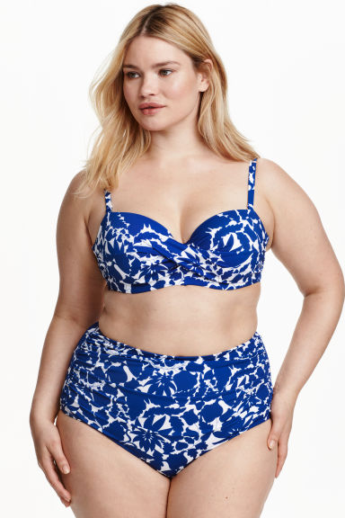 H&M+ Draped bikini bottoms - White/Blue floral - Ladies | H&M CN 1