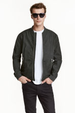 Cotton canvas bomber jacket - Dark grey - Men | H&M CN 1