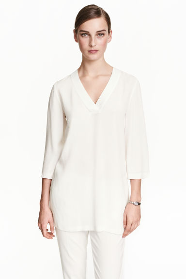 Tunique à encolure en V - Blanc -  | H&M CH