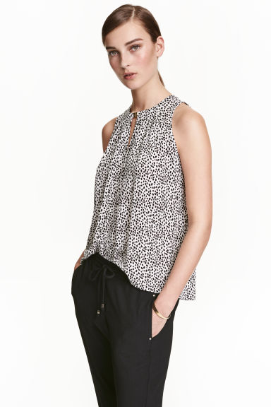 Sleeveless jersey top - White/Patterned - Ladies | H&M CN 1